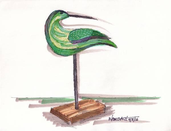 Drawing - Water Fowl Motif #3 by Richard Wambach