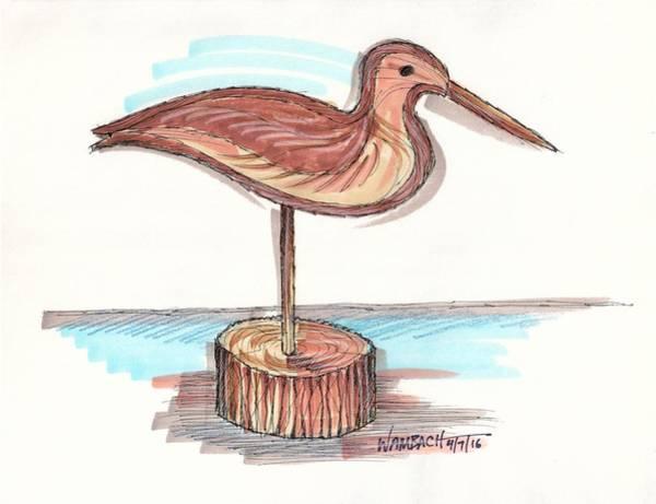 Drawing - Water Fowl Motif #4 by Richard Wambach