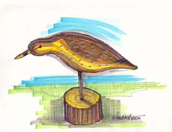 Drawing - Water Fowl Motif #7 by Richard Wambach