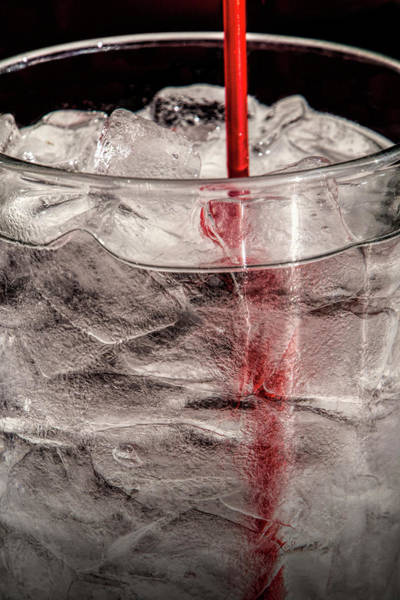Photograph - Water Glass With Ice And A Red Straw by Randall Nyhof