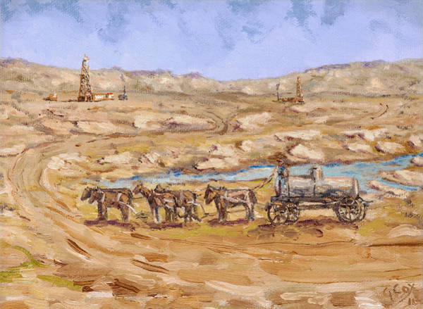 Oil Well Painting - Water Hauler by Galen Cox