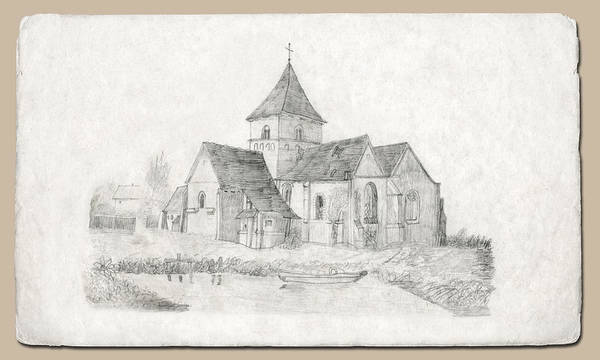 Drawing - Water Inlet At Church by Donna L Munro