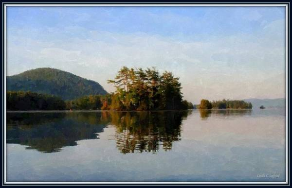 Adirondack Mountains Painting - Water Like Glass, Framed by Linda Seifried