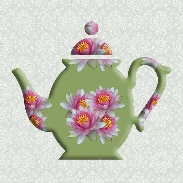 Digital Art - Water Lily Pattern Teapot by Anthony Murphy