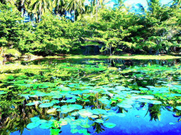 Wall Art - Painting - Water Lily Pond At Punaluu by Dominic Piperata
