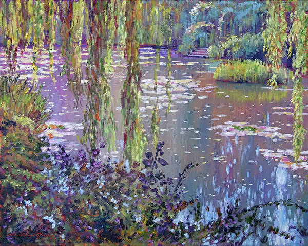 Weeping Willow Wall Art - Painting - Water Lily Pond Giverny by David Lloyd Glover