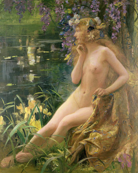 Pre-raphaelite Painting - Water Nymph by Gaston Bussiere