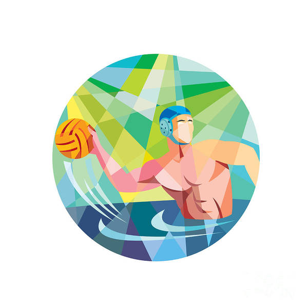 Water Polo Player Throw Ball Circle Low Polygon Art Print