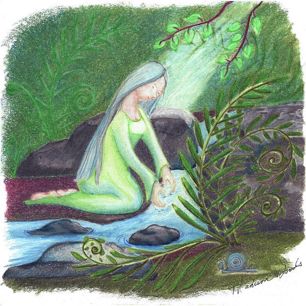Wall Art - Drawing - Water Priestess by Madison Woods