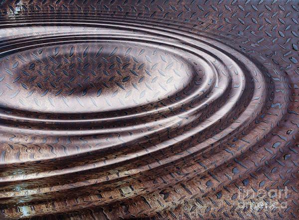 Wall Art - Digital Art - Water Ripple On Rusty Steel Plate  by Michal Boubin