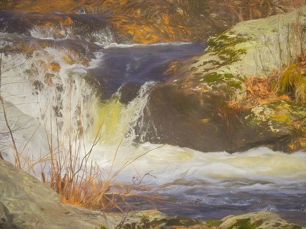 Digital Art - Water Rushing Around Large Boulders. by Rusty R Smith