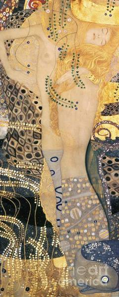 Naked Woman Painting - Water Serpents I by Gustav klimt
