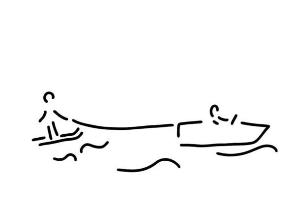 Lineart Drawing - Water-ski Boat Waterski by Lineamentum