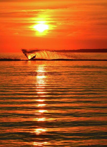 Wall Art - Photograph - Water Skiing At Sunrise  by Lyle Crump