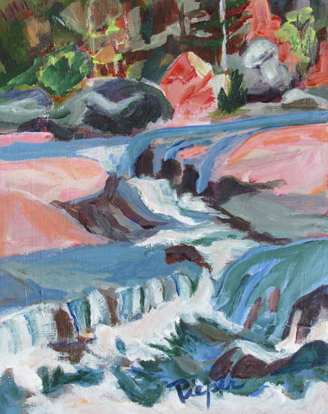 Oak Creek Canyon Painting - Water Spilling And Filling  by Betty Pieper