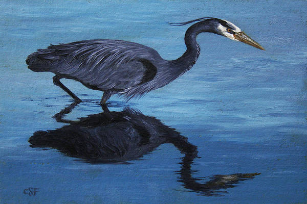 Water Fowl Painting - Water Stalker - Blue Heron by Crista Forest