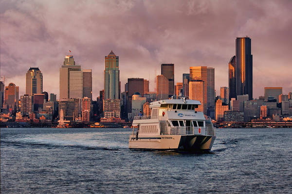 Elliot Bay Wall Art - Photograph - Water Taxi - Seattle - Skyline by Nikolyn McDonald