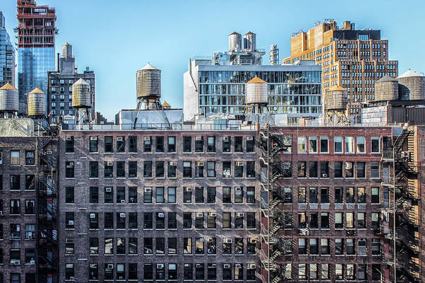 Photograph - Water Towers, Air Conditioners, Fire Escapes by Alison Frank