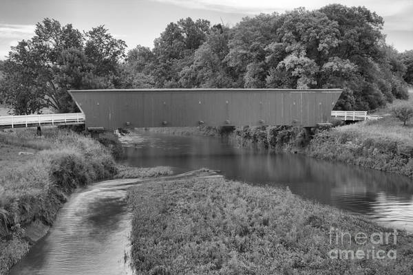 Photograph - Water Under The Hogback Bridge Black And White by Adam Jewell