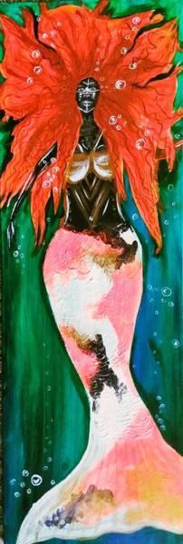 Green Painting - Water Warrior by Artist Jamari