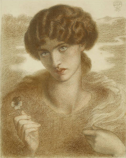 Drawing - Water Willow - Study Of Female Head And Shoulders by Dante Gabriel Rossetti