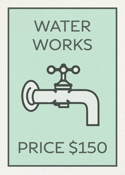 Wall Art - Mixed Media - Water Works Vintage Monopoly Board Game Theme Card by Design Turnpike