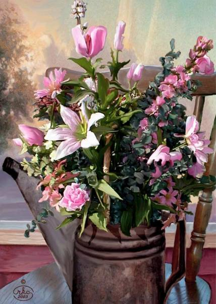 Wall Art - Painting - Watercan Bouquet by Ron Chambers
