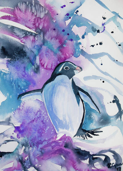 Painting - Watercolor - Adelie Penguin by Cascade Colors