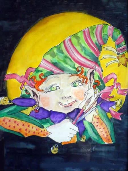 Painting - Elfin Artist by Aingeal Rose
