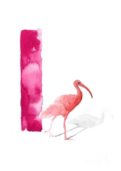 Ibis Wall Art - Painting - Watercolor Alphabet Pink Ibis Poster by Joanna Szmerdt