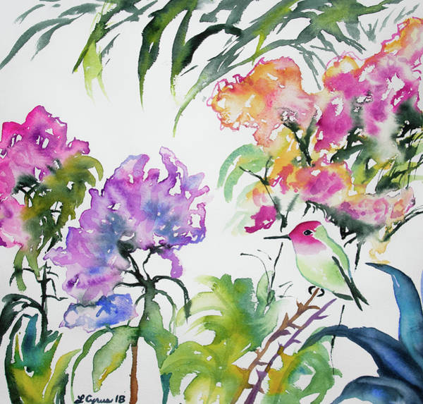 Painting - Watercolor - Anna's Hummingbird And Rhododendron by Cascade Colors