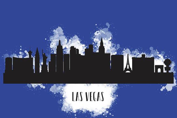 Downtown Las Vegas Digital Art - Watercolor Art Of The Las Vegas Skyline Silhouette by Anna Maloverjan