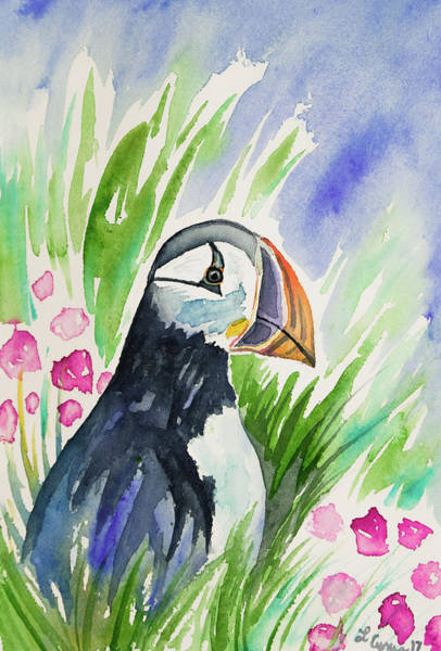 Painting - Watercolor - Atlantic Puffin With Sea Flowers by Cascade Colors