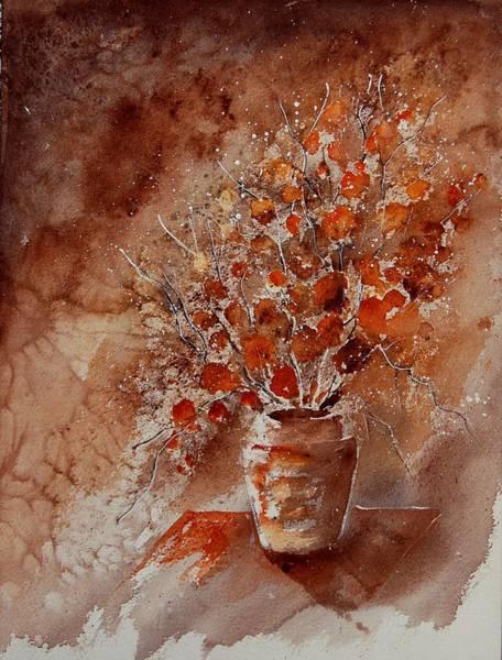 Blue Cornflower Painting - Watercolor Autumn Bunch by Pol Ledent