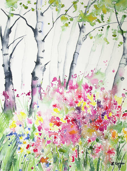 Painting - Watercolor - Birch And Wildflowers by Cascade Colors