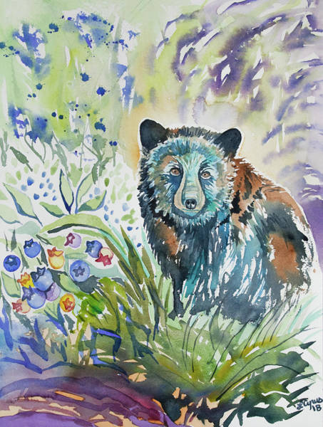 Painting - Watercolor - Black Bear And Blueberries by Cascade Colors