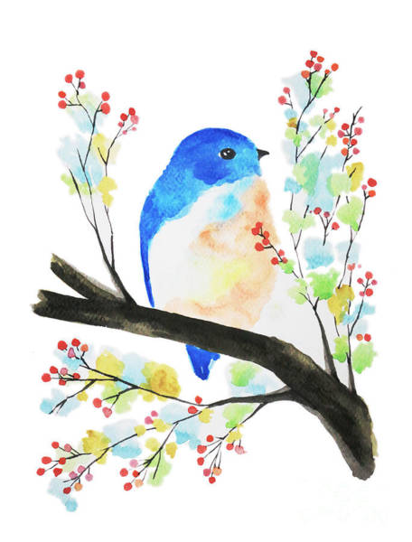 Twitcher Wall Art - Painting - Watercolor Blue Bird On Branch by Rasirote Buakeeree