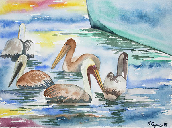 Painting - Watercolor - Brown Pelican Group And Boat by Cascade Colors