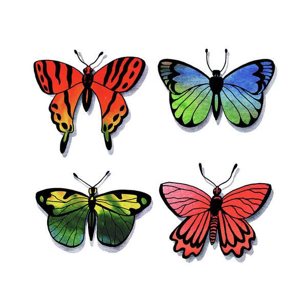 Wall Art - Painting - Watercolor Butterflies Collection I by Irina Sztukowski