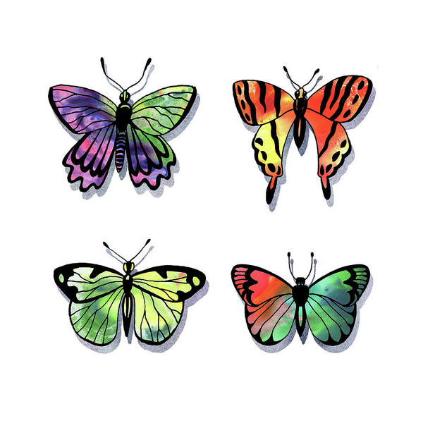 Painting - Watercolor Butterflies Collection II by Irina Sztukowski