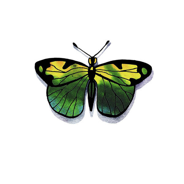 Wall Art - Painting - Watercolor Butterfly In Yellow And Green by Irina Sztukowski