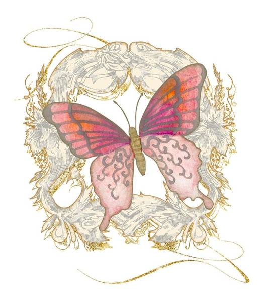 Etching Wall Art - Painting - Watercolor Butterfly With Vintage Swirl Scroll Flourishes by Audrey Jeanne Roberts
