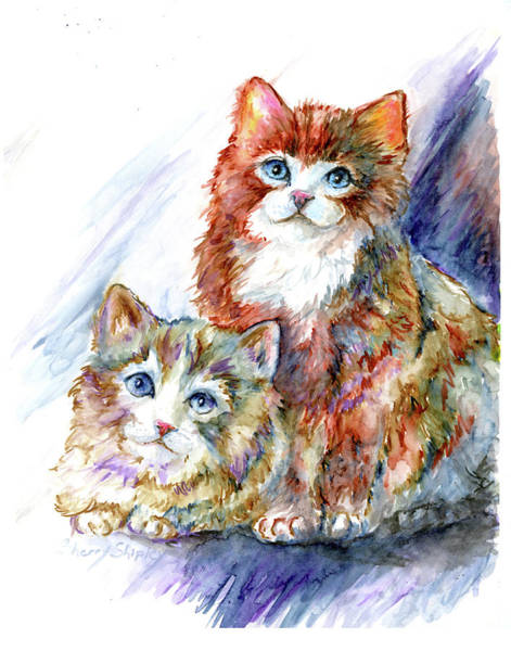 Painting - Watercolor Cat Pair by Sherry Shipley