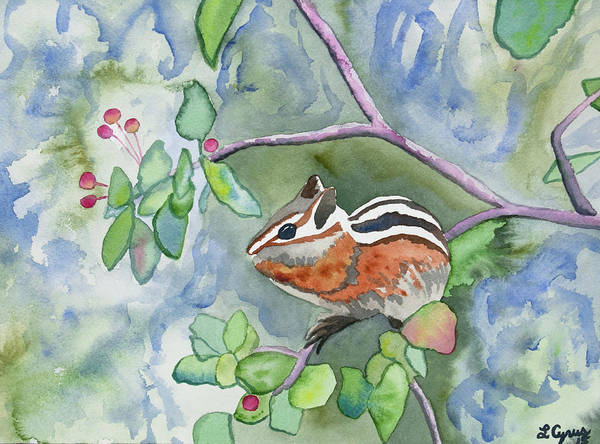 Painting - Watercolor - Chipmunk Eating Berries by Cascade Colors