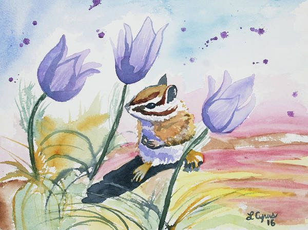 Painting - Watercolor - Chipmunk With Pasque Flowers by Cascade Colors