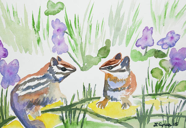 Painting - Watercolor - Chipmunks And Violets by Cascade Colors