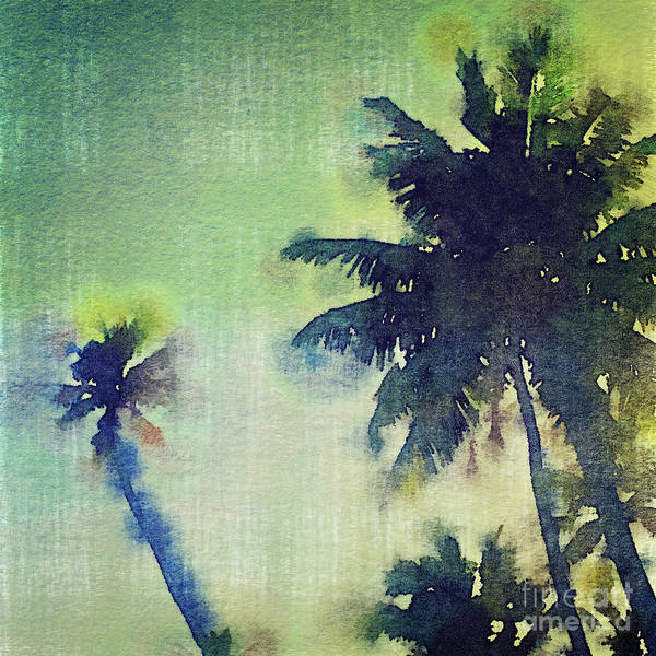 Digital Art - Watercolor Coconut Tree Tropical Vintage Palm  by Beverly Claire Kaiya