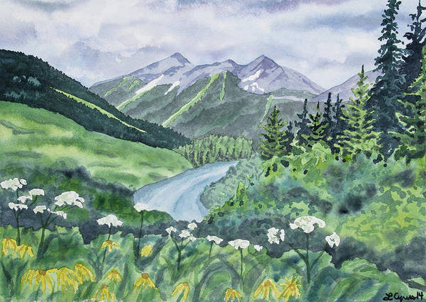 Painting - Watercolor - Colorado Summer Landscape by Cascade Colors