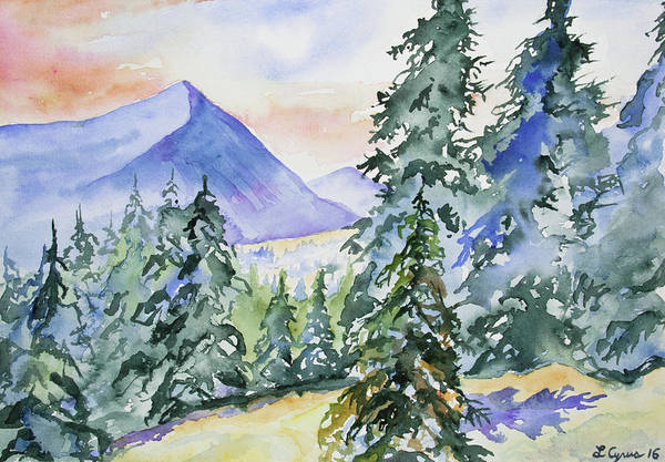 Painting - Watercolor - Colorado Winter Mountain Sunrise by Cascade Colors