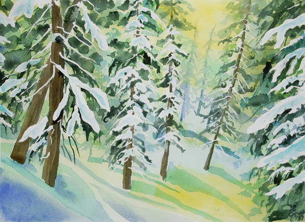 Painting - Watercolor - Colorado Winter Tranquility by Cascade Colors